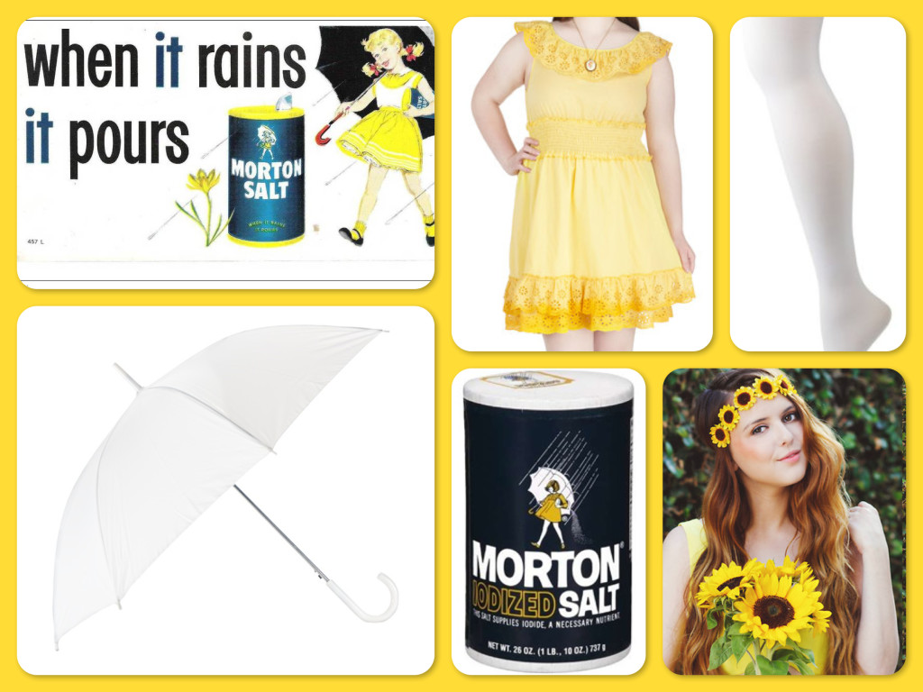 Halloween Morton Salt Girl Costumes with Yellow Dress, Wear-Again Plus Size Costumes