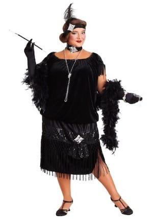 Deluxe Plus Size Black Flapper Dress