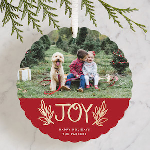 Colorblock Joy- Customizable Foil-pressed Holiday Ornament Cards