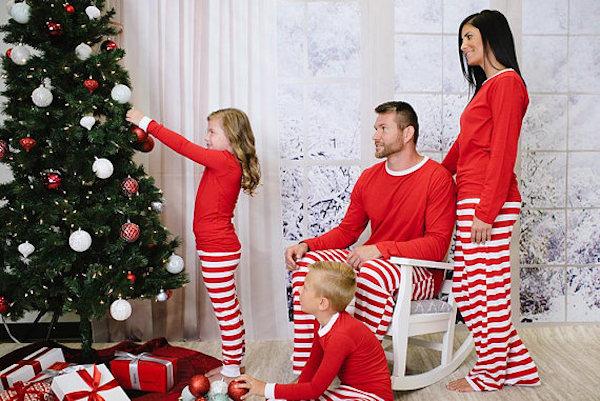 Red & White Stripe Family Matching Christmas Pajamas