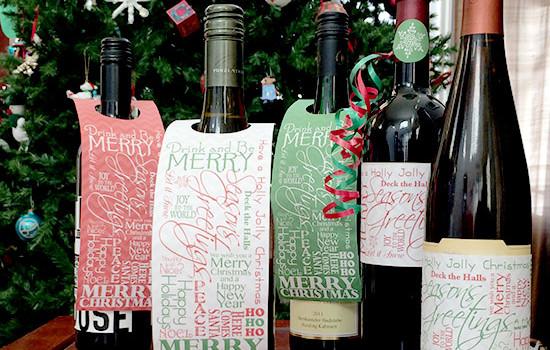 Christmas word art bottle tags