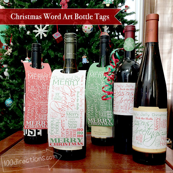 Christmas word art bottle tags