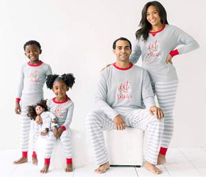 Family Matching Winter Snowflake Grey Stripe Holiday Pajamas
