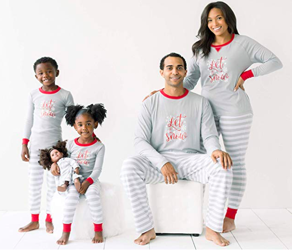 Family Matching Winter Snowflake Grey Stripe Holiday Pajamas