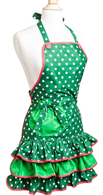 Green Holiday Flirty Apron
