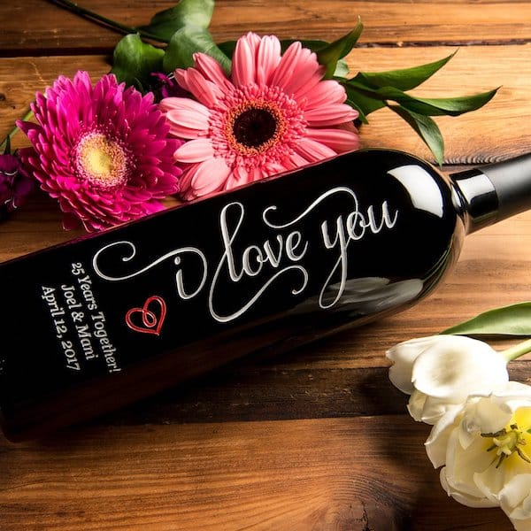 I Love You Etched Wine Bottle
