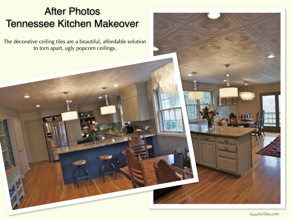 lovely Ceiling Tiles Over Popcorn Ceiling Part - 9: After Photos Tennessee Kitchen Makeover using Decorative Ceiling Tiles Over  Popcorn Ceiling