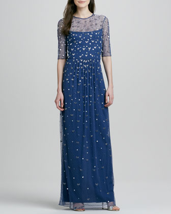 Alice by Temperley Beaded-Overlay Half-Sleeve Illusion Gown