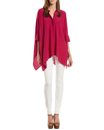 Gucci Silk Cape Shirt & Stretch Cotton Skinny Pants