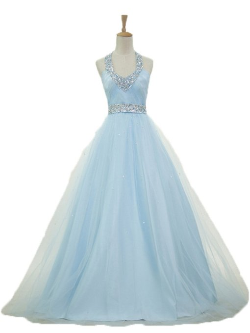 Halter Tulle Beaded Prom Dress