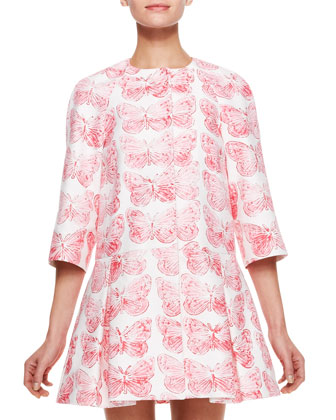 RED Valentino Butterfly Print Coat Dress, Hydrangea