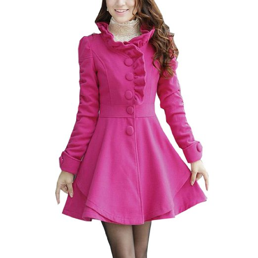 Slim Fit Woolen Cotton Blend Ruffles Collar PeaCoat Fuchsia