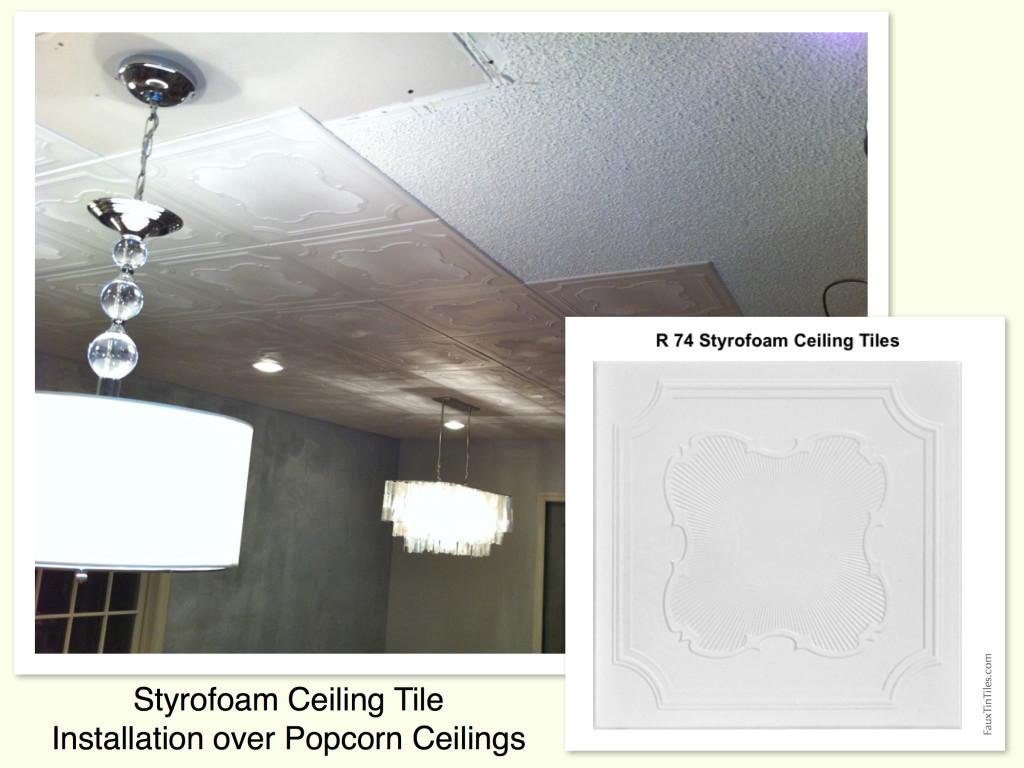 Styrofoam Ceiling Tile Installation Over Popcorn Ceilings