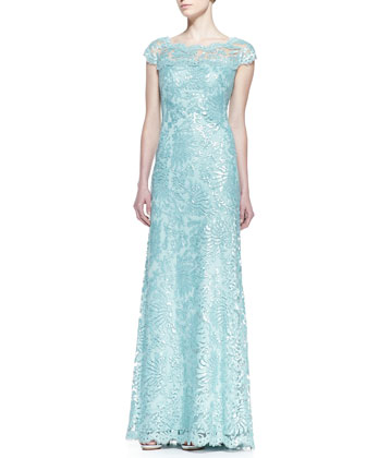 Tadashi Shoji Short-Sleeve Sequin & Lace A-Line Gown