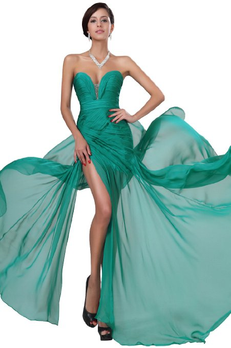 Women's Pleated Top Beaded Split Party Prom Ball Gown