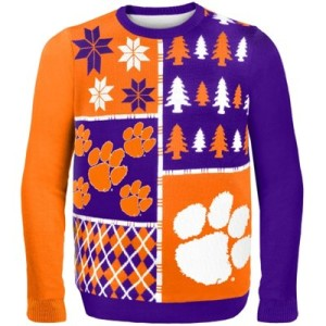 College Sweaters, college game day sweaters, Clemson Tigers Busy Block Ugly Sweater