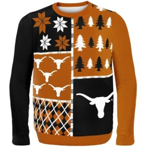 College Sweaters, college game day sweaters, Texas Longhorns Busy Block Ugly Sweater