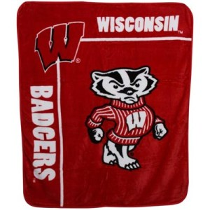 Wisconsin Badgers 50'' x 60'' Cardinal Team Spirit Royal Plush Blanket Throw