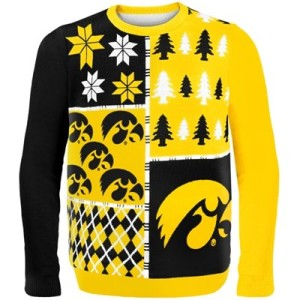 College Sweaters, college game day sweaters, Iowa Hawkeyes Busy Block Ugly Sweater