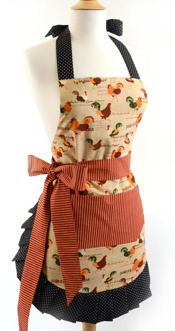 Women's Apron Original Rooster Apron, Flirty Aprons 50 OFF Sale, Thanksgiving Apron
