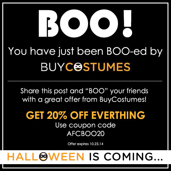 BuyCostumes YOU HAVE JUST BEEN BOOed 20% OFF Everything Promotion!
