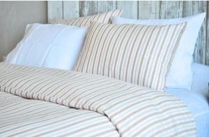 Sia Cinnamon Stripes Ticking Duvet Set