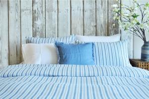 Sia Denim Stripes Ticking Duvet Set, how to put a comforter into a duvet cover