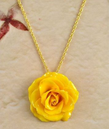 Real Yellow Rose Pendant Necklace, GRΣΔΤ Sigma Delta Tau Gifts