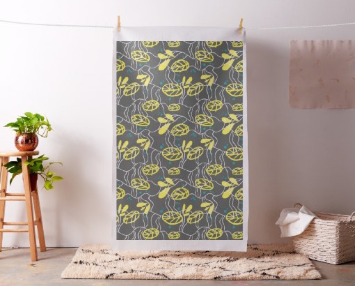 Abstract Modern Yellow Leaves Grey Fabric, Fabric as Wall Art