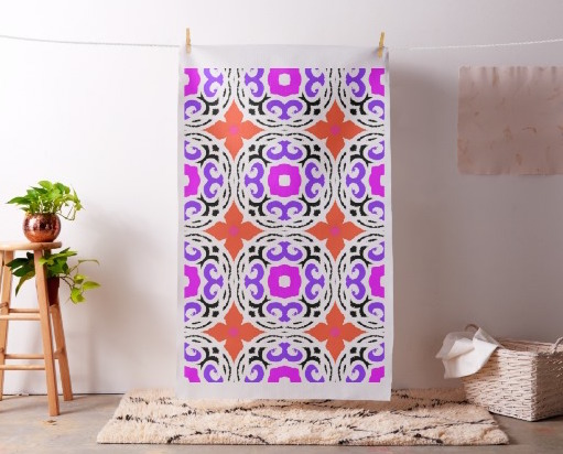 Ethnic Pattern with Moroccan Motifs Fabric, Fabric as Wall Art