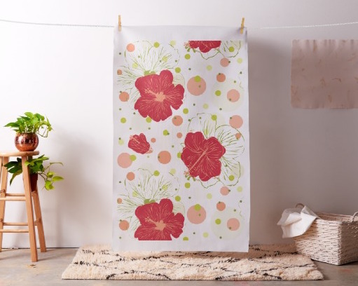 Hand Drawn Hibiscus Pattern, Fabric as Wall Art