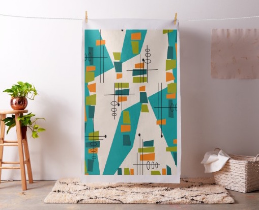 Mid-Century Modern Atomic Teal Abstract, Fabric as Wall Art