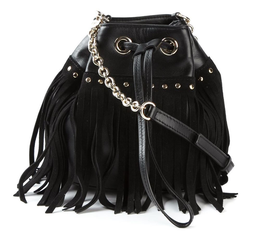 DIANE VON FURSTENBERG Disco Fringe Drawstring Bucket Bag in Black