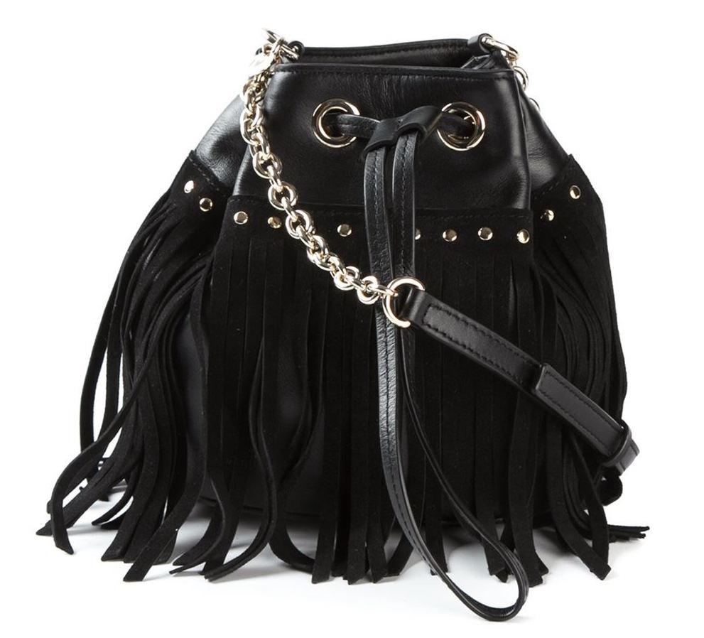 DIANE VON FURSTENBERG Disco Fringe Drawstring Bucket Bag in Black