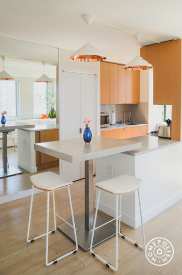 Copper accents, wall mirrors, cute stools, Kitchen Makeover