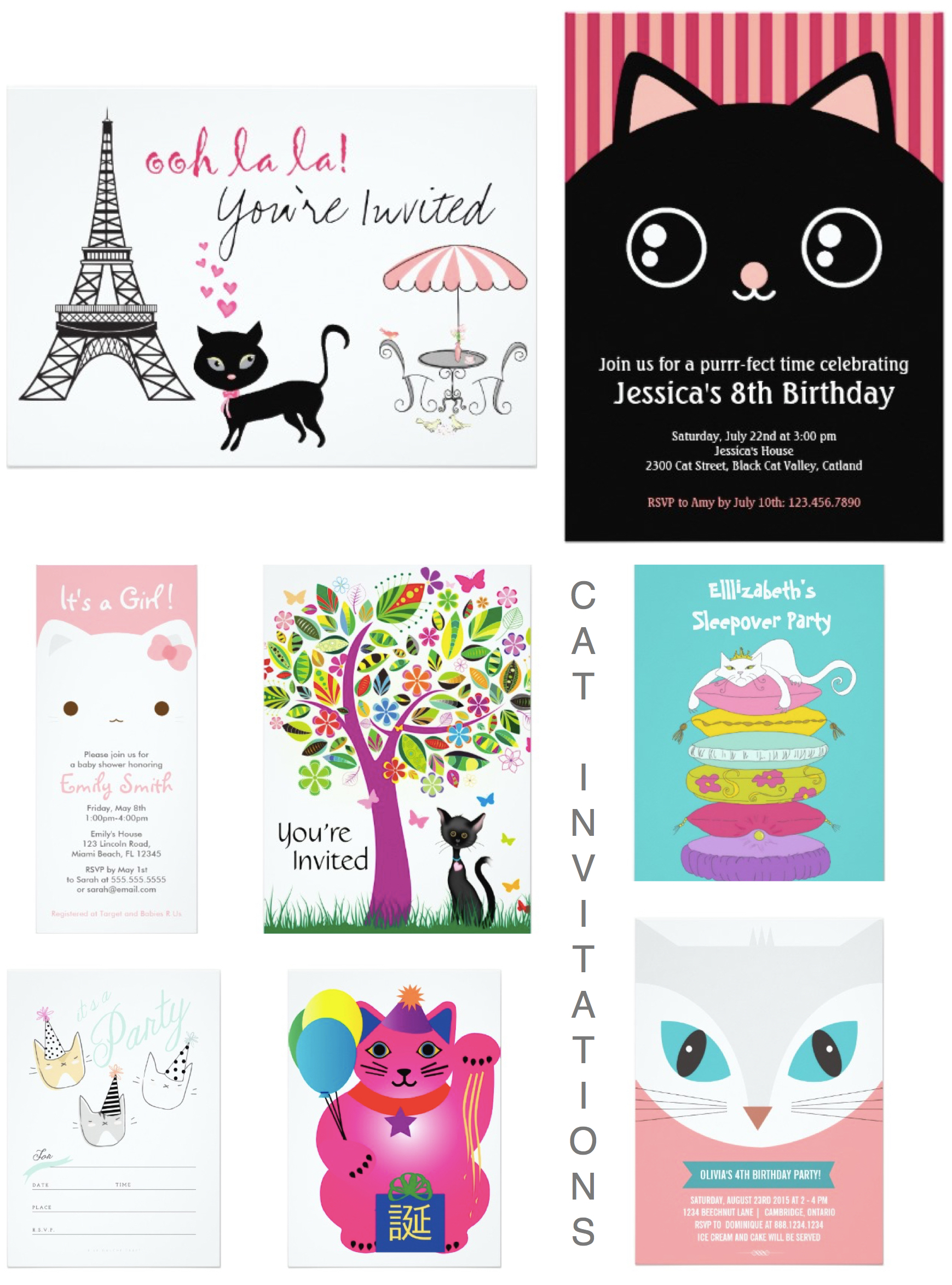 Cat Theme Party Invitations, Celebrate Cat Cuteness