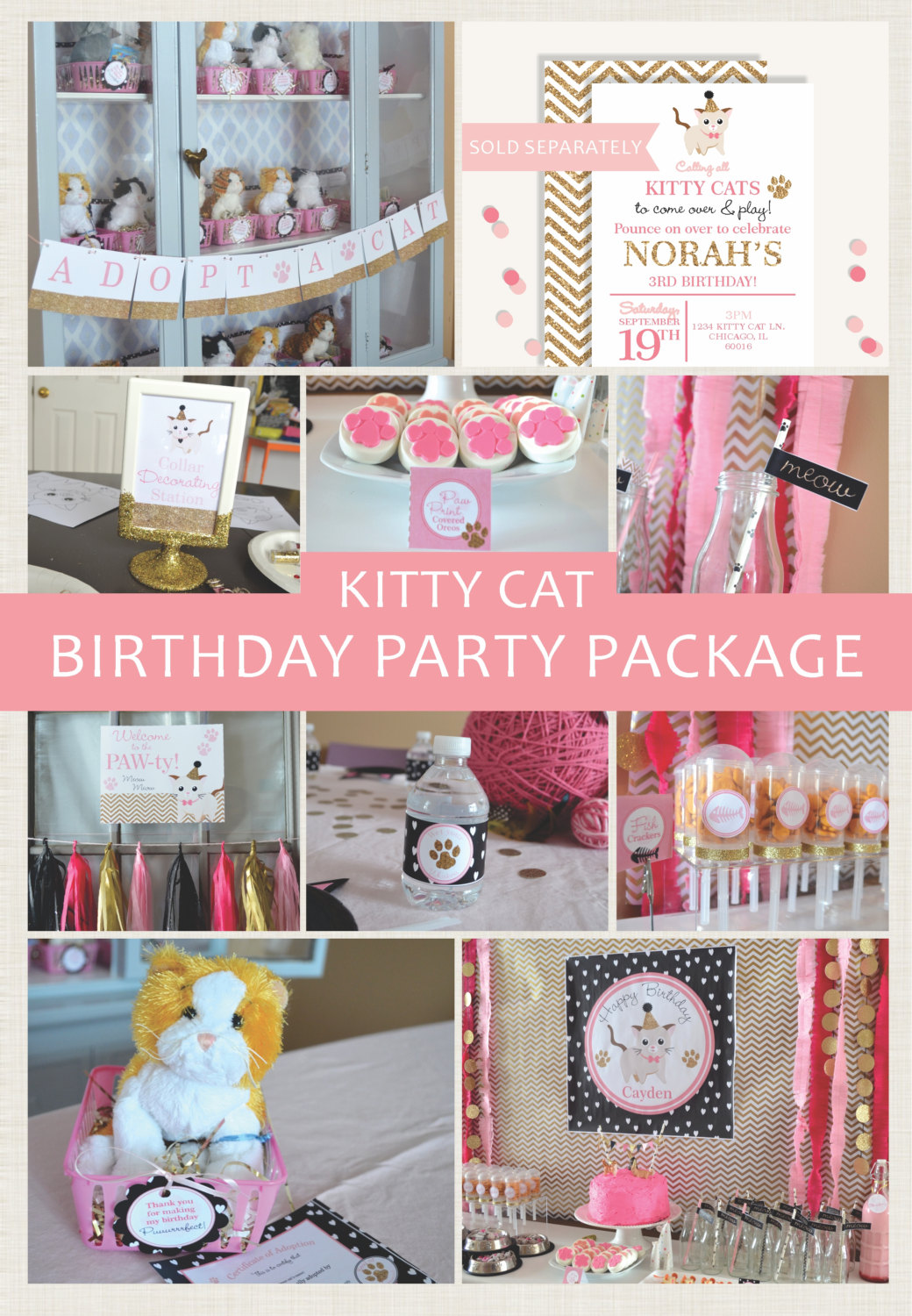 Kitty Cat Personalized Printable Party Package, Celebrate Cat Cuteness