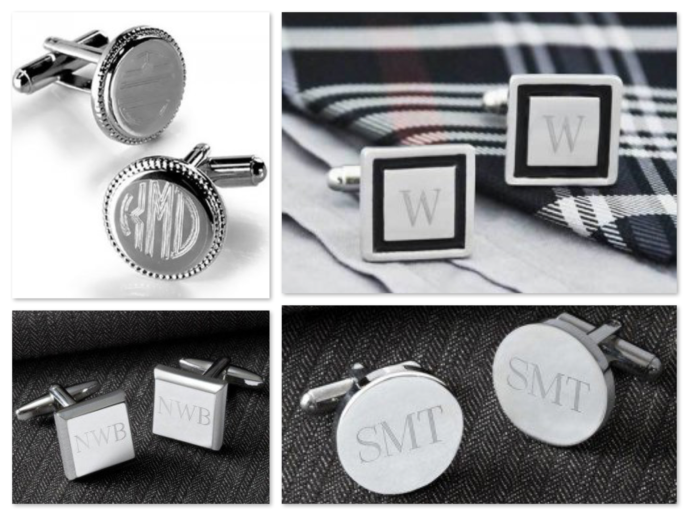 Monogrammed Cufflinks Mens Birthday Fathers Day & Groomsmen Gifts