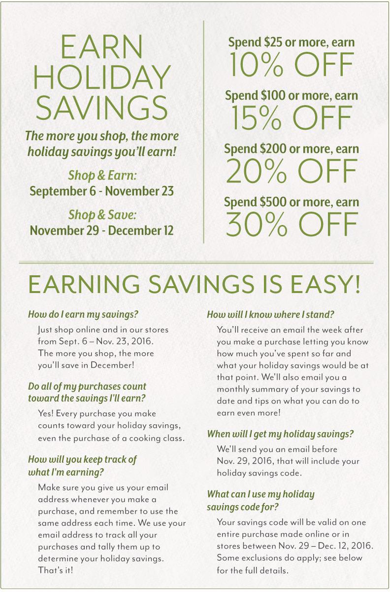 Earn Holiday Savings at Sur La Table