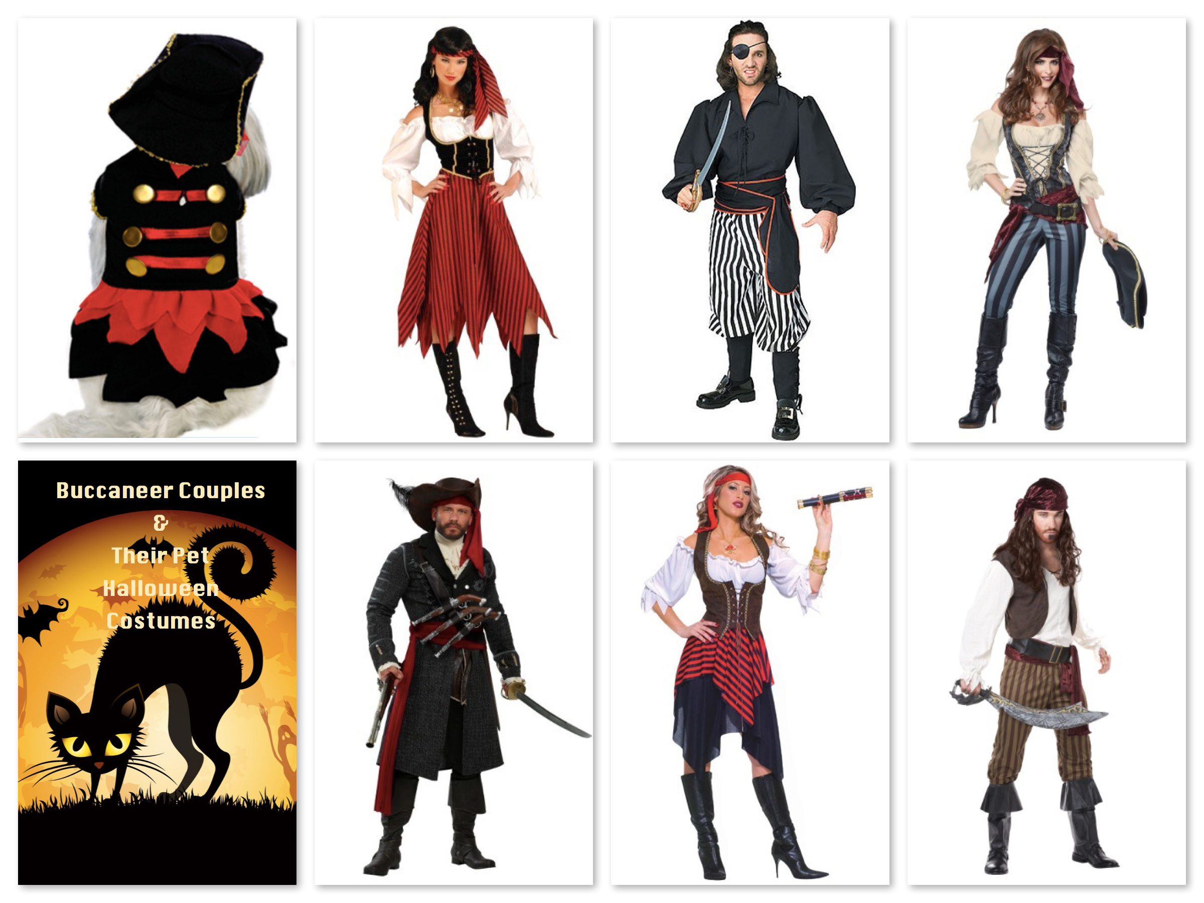 Buccaneer Couples & Their Pet Halloween Costumes, Matching Couples & Their Dog Costumes