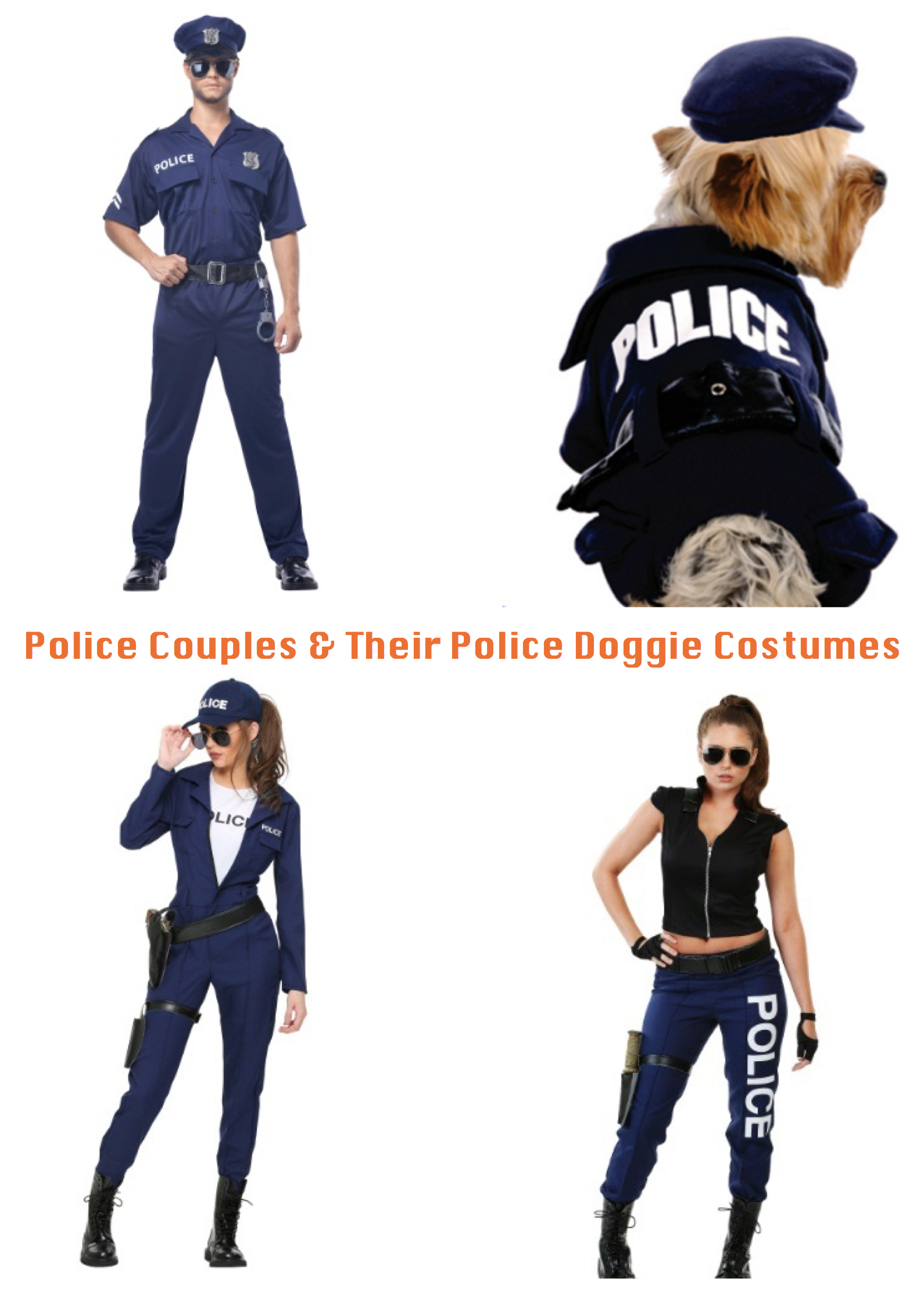 Police Couples & Their Police Doggie Costumes,Matching Couples & Their Dog Costumes