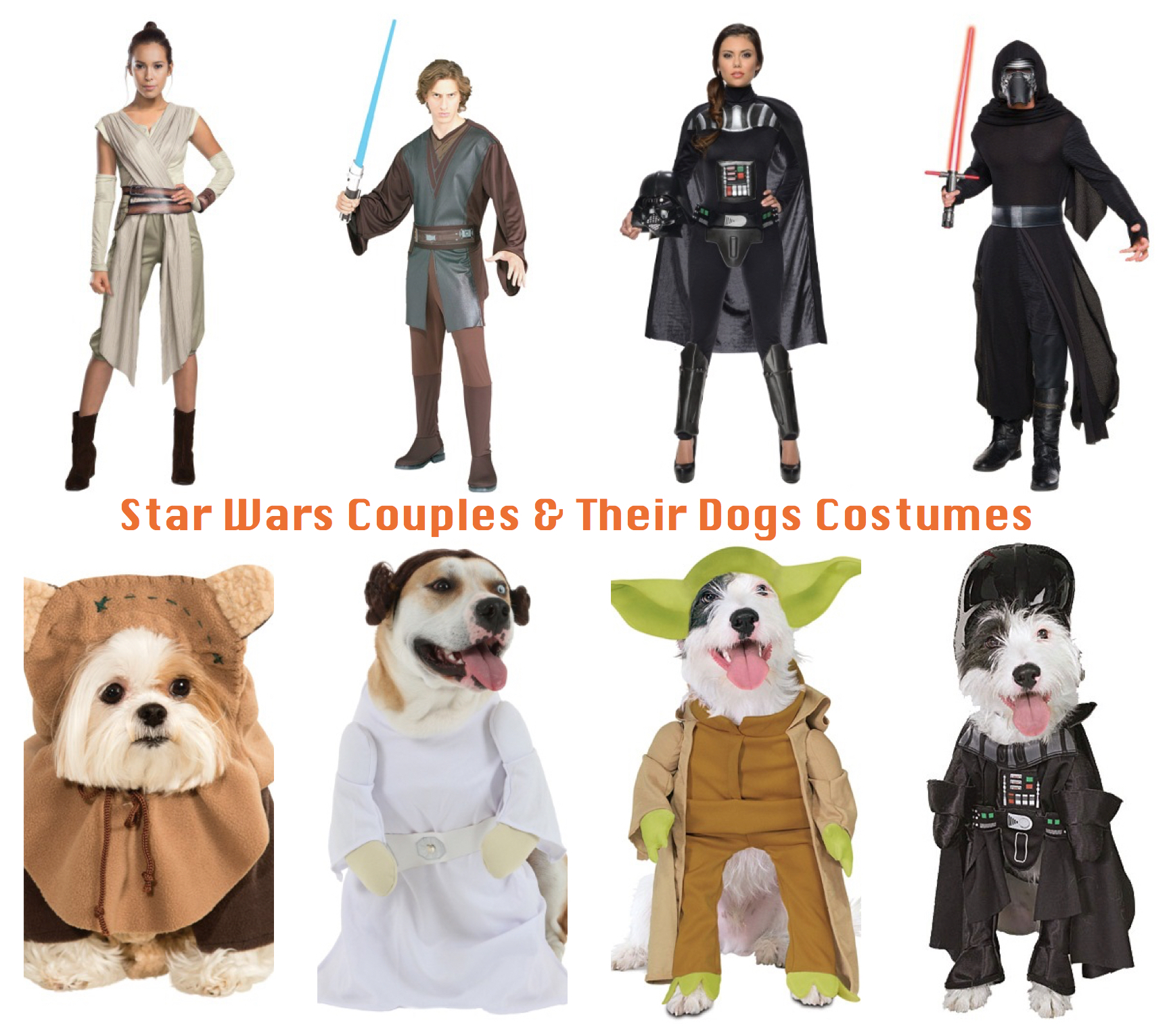 Star Wars Couples and Their Dogs Costumes