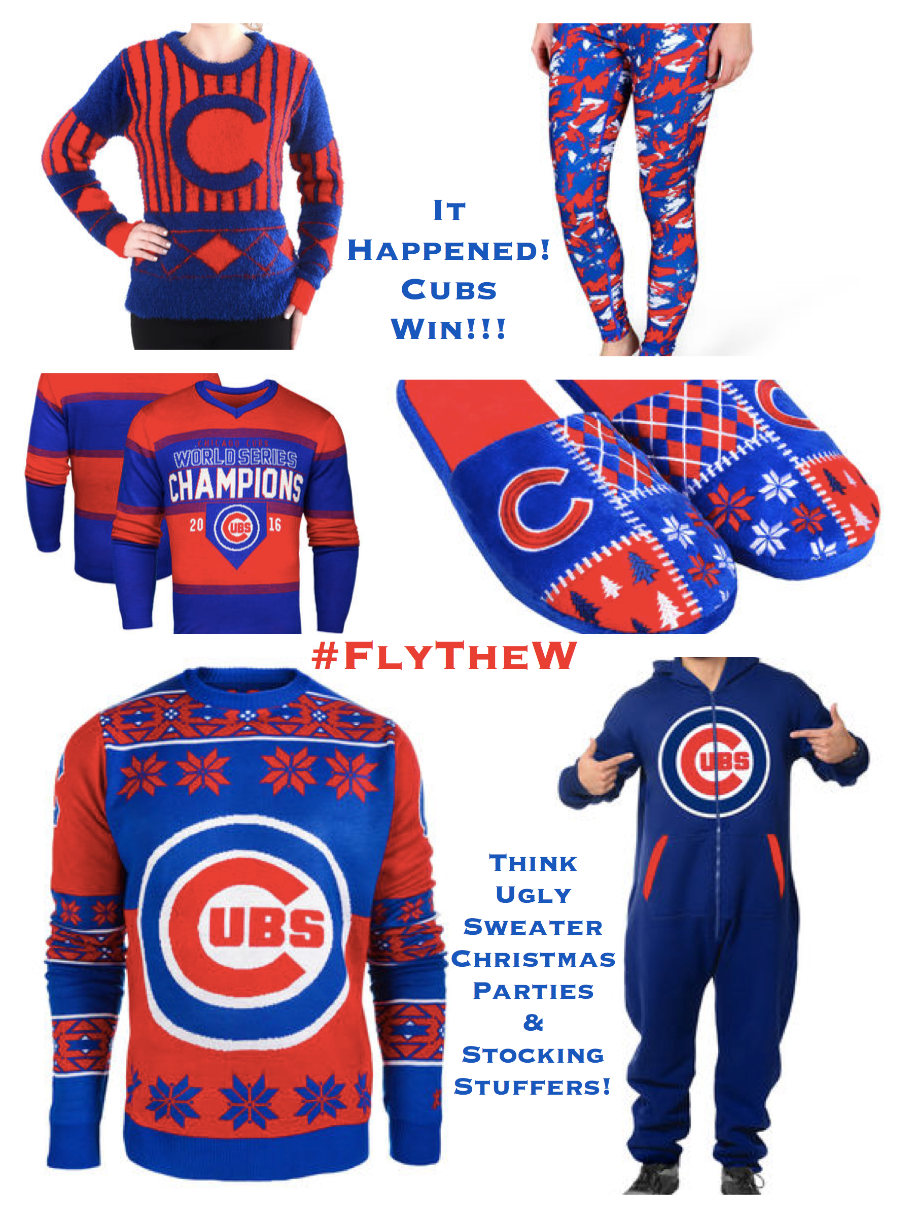 Cubs Win! Ugly Sweater Christmas Parties and Stocking Stuffers
