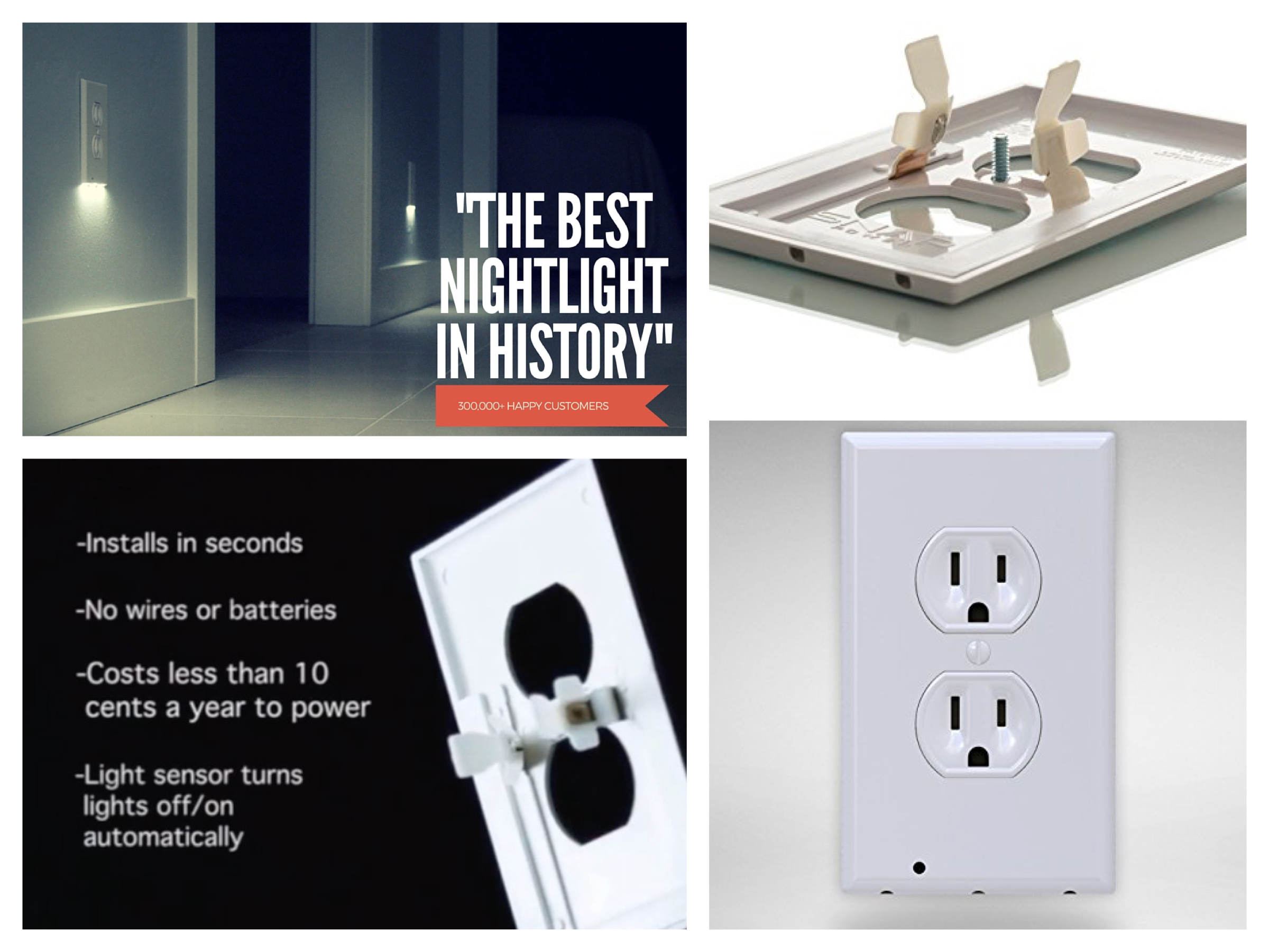 SnapPower The Best Nightlight in History Outlet Coverplate with LED Night Lights