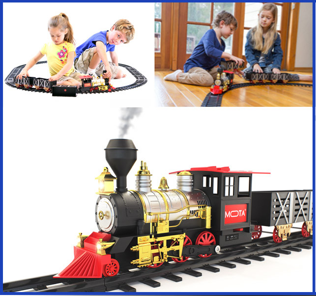 MOTA Classic Holiday Christmas Train Set with Smoke and Sound
