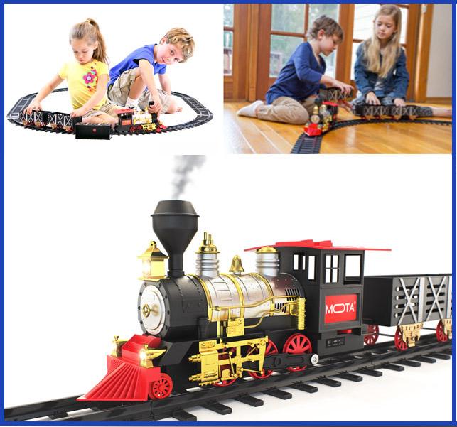 MOTA Classic Holiday Christmas Train Set with Smoke and Sound