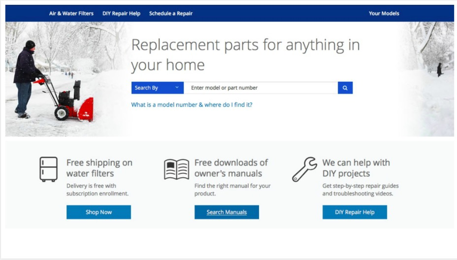 Sears Parts Direct Replacement Parts Finder Tool, home appliance fix-it resource