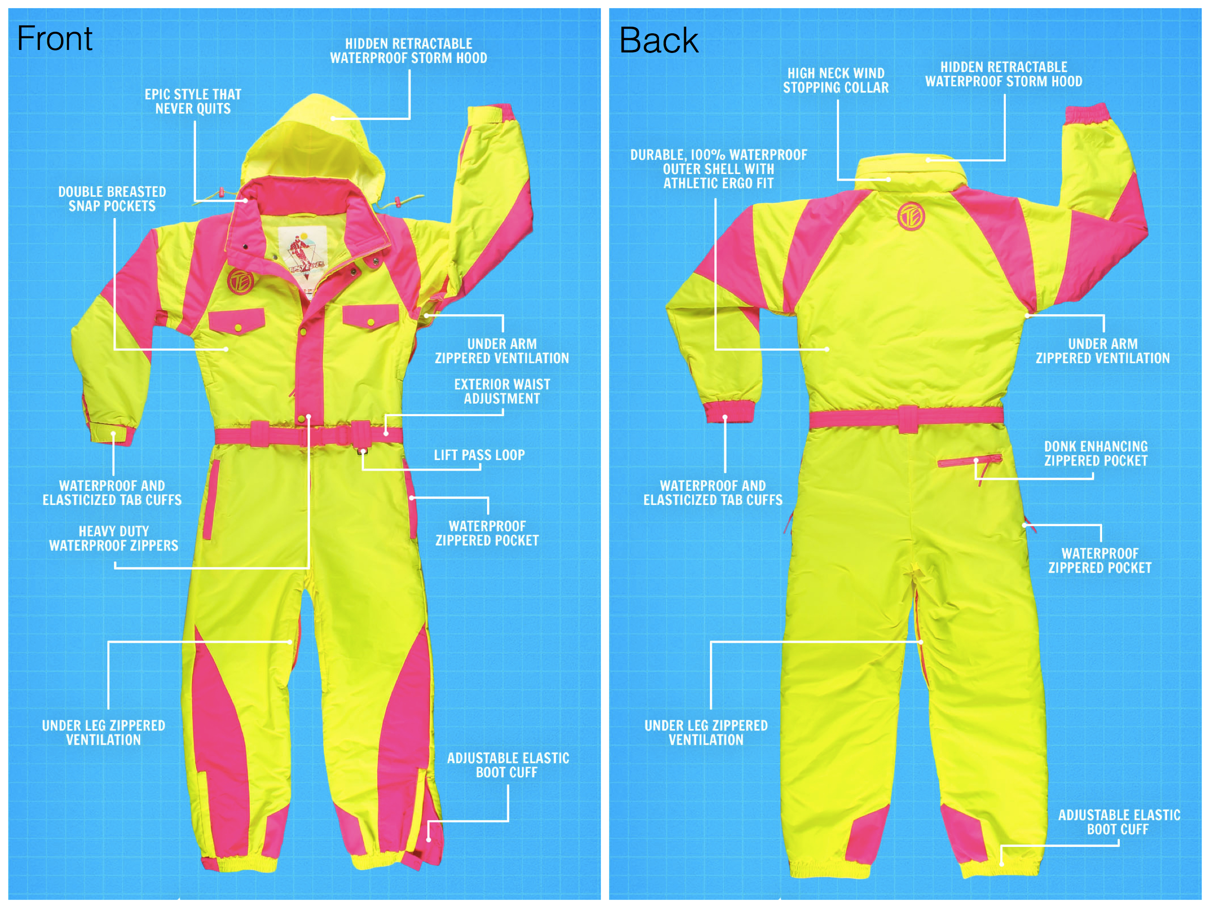 Tipsy Elves Ski Suit Features, Fun Premium Crafted Ski Suits