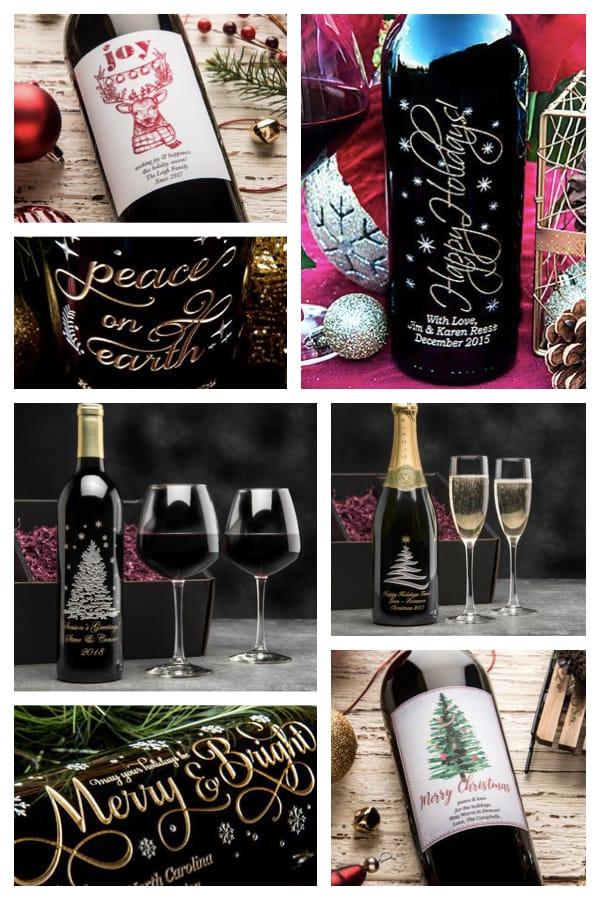 Festive Holiday Wine Bottles