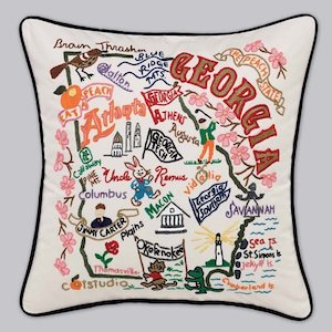 Hand Embroidered Decorative State Pillows -Georgia
